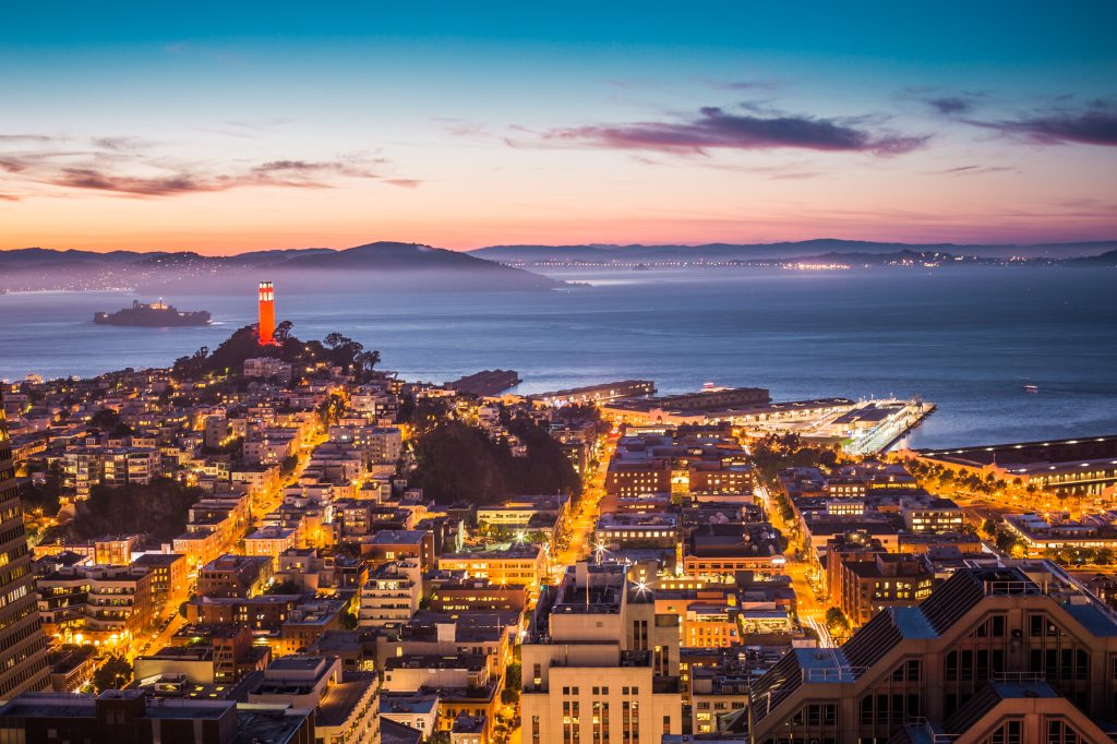 aerial photograph of san francisco in the evening